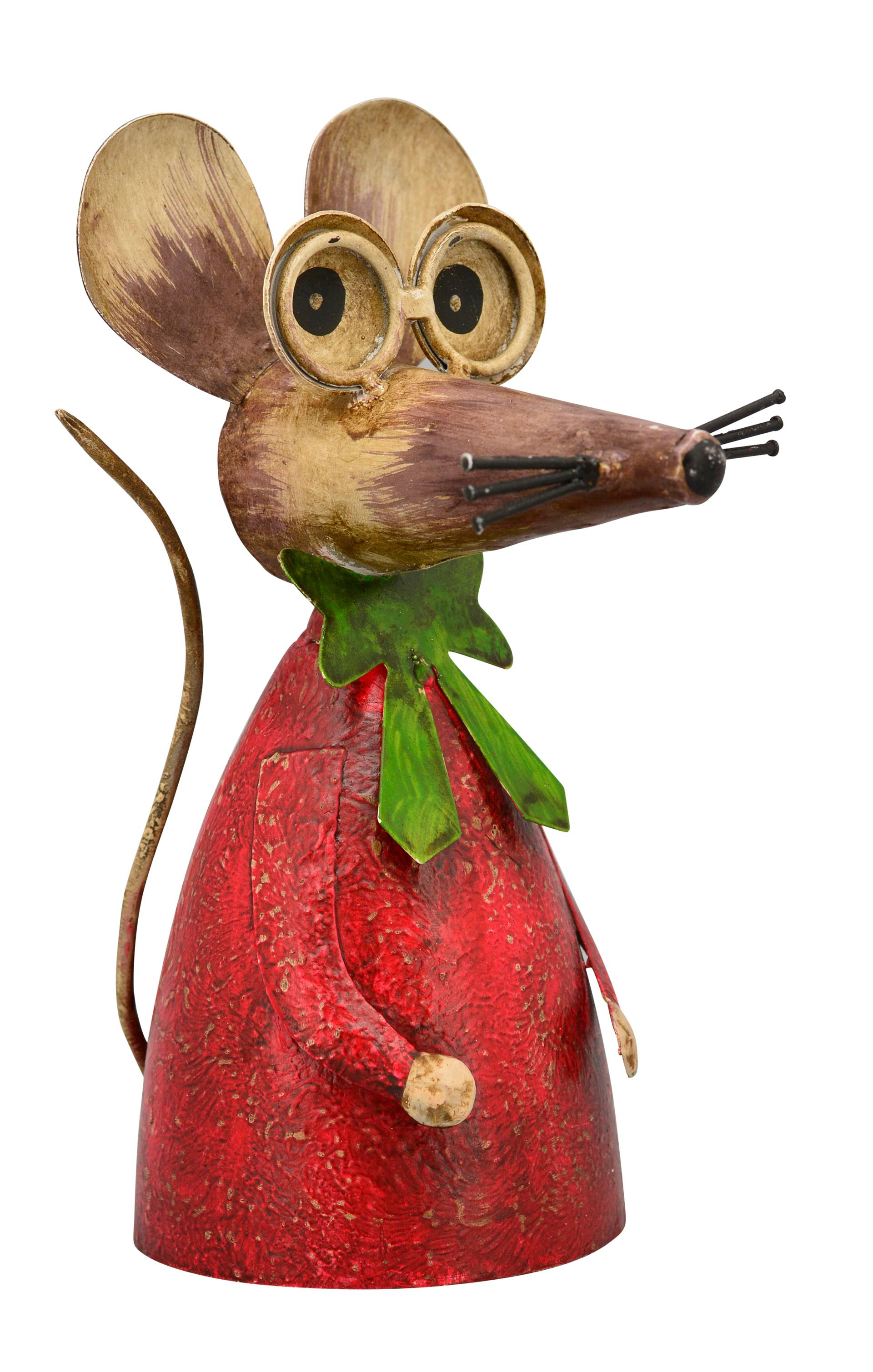 Zaunhocker Maus Vintage rot, grüne Schleife