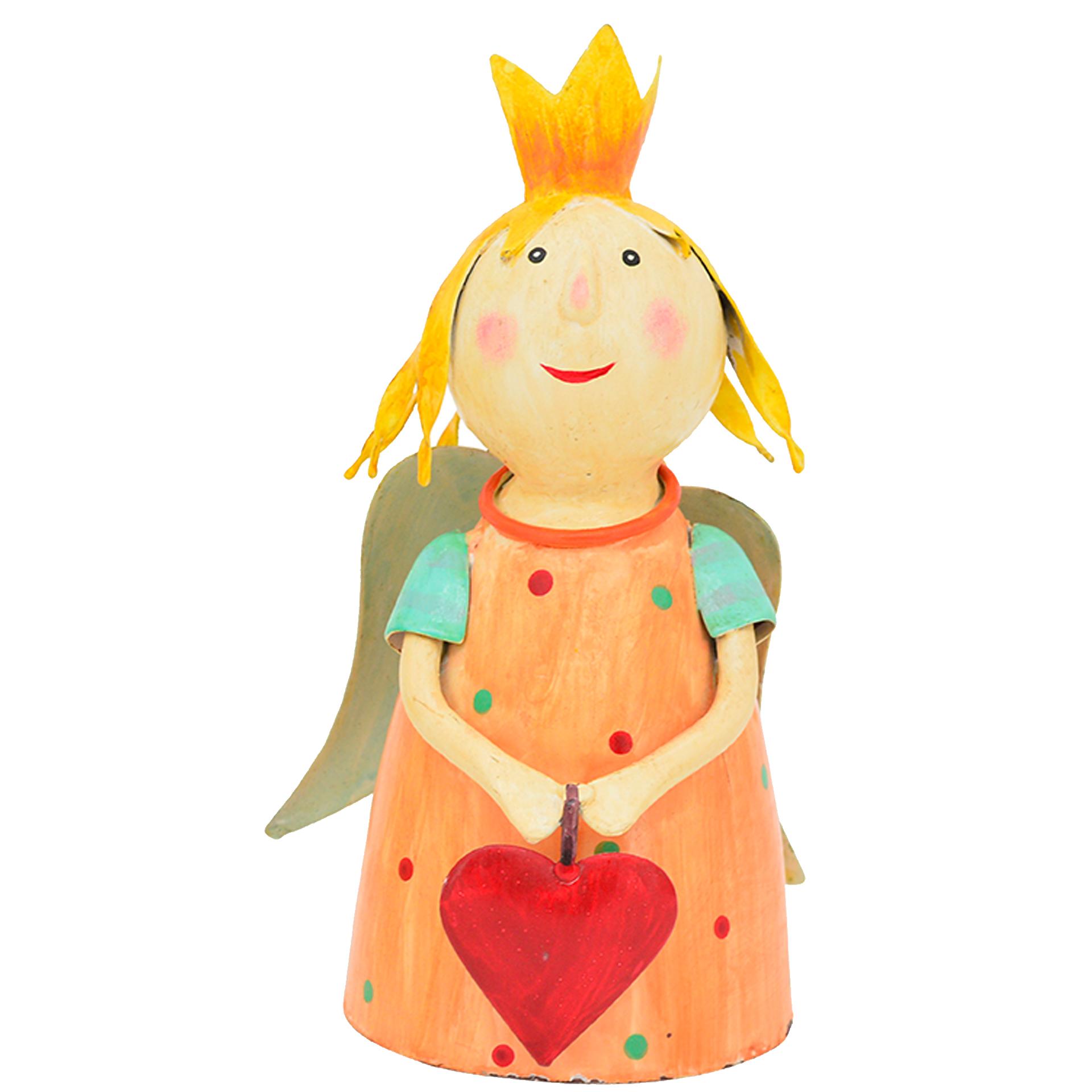 Zaunhocker Schutzengel orange mit Herz