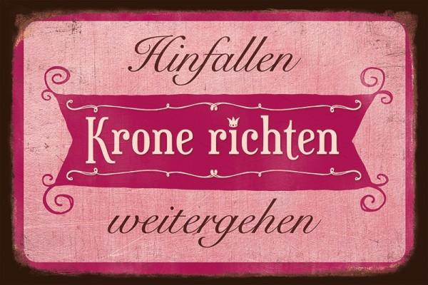 """Blechschild """"Krone richten"""""""
