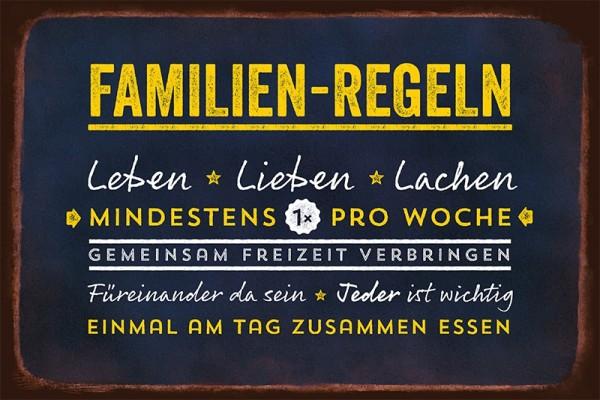 """Blechschild """"Familien-Regeln"""""""