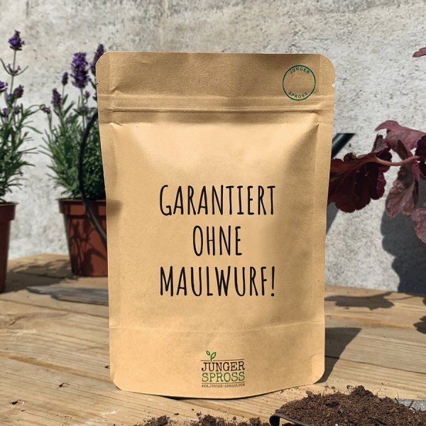 Saatgut 'Garantiert ohne Maulwurf'
