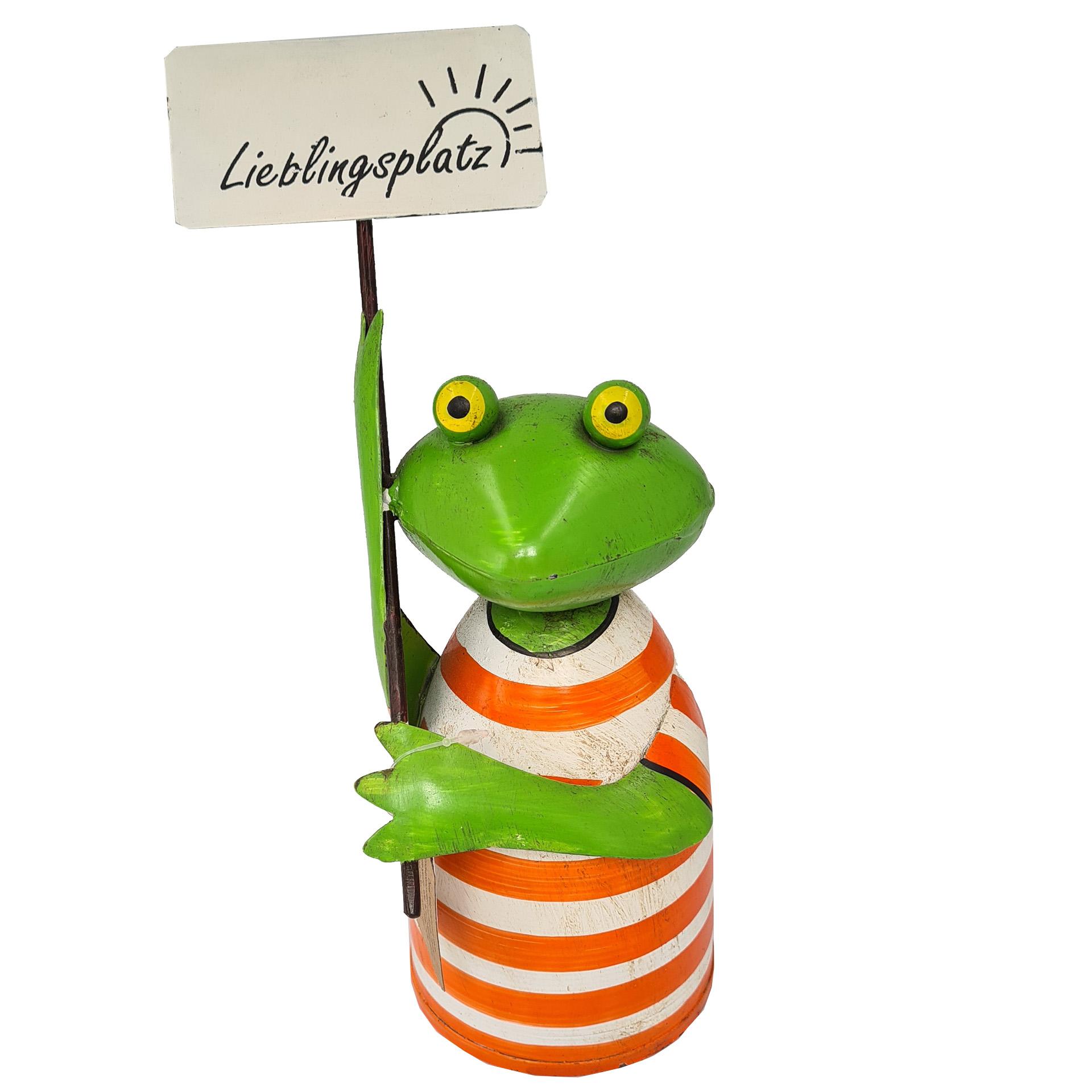 Zaunhocker Frosch mit Schild - Lieblingsplatz